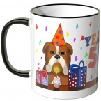 JUNIWORDS Tasse YEAH 50! mit mürrischer Hund