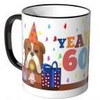 JUNIWORDS Tasse YEAH 60! mit mürrischer Hund