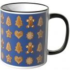 JUNIWORDS Tasse Lebkuchen auf blauem Hintergrund