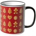 JUNIWORDS Tasse Lebkuchen auf rotem Hintergrund