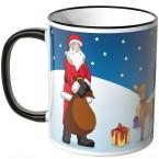 JUNIWORDS Tasse Weihnachtsmann mit Rentieren und Schlitten