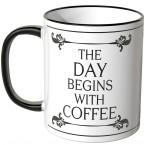 JUNIWORDS Tasse The day begins with coffee mit schwarzen Schnörkeln