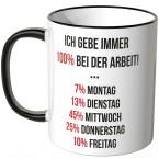 JUNIWORDS Tasse Ich gebe immer 100% bei der Arbeit...