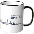 """JUNIWORDS Tasse """"Guten Morgen Karlsruhe!"""" Skyline bei Nacht"""