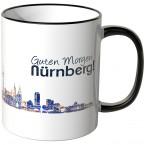 "JUNIWORDS Tasse ""Guten Morgen Nürnberg!"" Skyline bei Nacht"