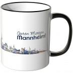 """JUNIWORDS Tasse """"Guten Morgen Mannheim!"""" Skyline bei Nacht"""