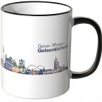 """JUNIWORDS Tasse """"Guten Morgen Gelsenkirchen!"""" Skyline bei Nacht"""