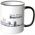 """JUNIWORDS Tasse """"Guten Morgen Bremen!"""" Skyline bei Nacht"""