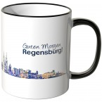 """JUNIWORDS Tasse """"Guten Morgen Regensburg!"""" Skyline bei Nacht"""