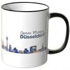 """JUNIWORDS Tasse """"Guten Morgen Düsseldorf!"""" Skyline bei Nacht"""