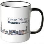 """JUNIWORDS Tasse """"Guten Morgen Braunschweig!"""" Skyline bei Nacht"""