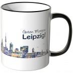 """JUNIWORDS Tasse """"Guten Morgen Leipzig!"""" Skyline bei Nacht"""