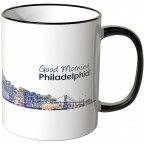 "JUNIWORDS Tasse ""Good Morning Philadelphia!"" Skyline bei Nacht"