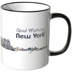 "JUNIWORDS Tasse ""Good Morning New York!"" Skyline bei Nacht"