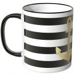 JUNIWORDS Tasse goldener Anker mit schwarz-weißen Streifen