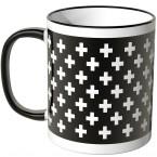 JUNIWORDS Tasse weiße Kreuze auf schwarzem Hintergrund
