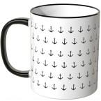 JUNIWORDS Tasse schwarze Anker auf weißem Hintergrund