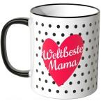 JUNIWORDS Tasse Weltbeste Mama im Herz mit schwarzen Punkten