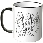 JUNIWORDS Tasse Thank you mit Schnörkel
