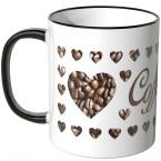 JUNIWORDS Tasse Coffee mit Kaffeebohnen