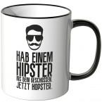 JUNIWORDS Tasse Hab einem Hipster ins Bein geschossen. Jetzt Hopster.