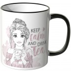 JUNIWORDS Tasse Keep calm and drink tea - aquarell