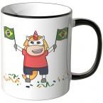 JUNIWORDS Tasse Brasilien Einhorn Flagge
