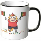 JUNIWORDS Tasse Portugal Einhorn Flagge