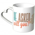 JUNIWORDS Herz Tasse He asked will you? And she said Yes!