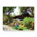 Leinwandbild - Plants - Pflanzen - Blauer Zaun
