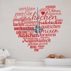 Wandtattoo Uhr - Küchenherz Worte