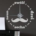 Wandtattoo Uhr - Mustache