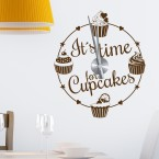 Wandtattoo Uhr - Its time for cupcakes