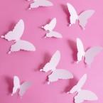Wandtattoo 3D - Schmetterlinge weiß