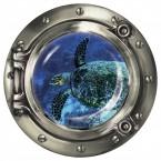 """Wandsticker Bullauge """"Faszinierende Schildkröte unter Wasser"""""""