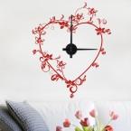Wandtattoo Uhr - Schnörkel-Herz
