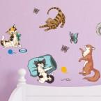Wandsticker Set A4 - Süße Katzen