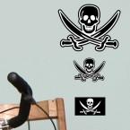 Wandsticker Set A4 - Piraten Flagge Totenkopf