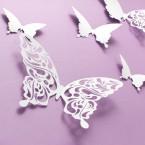 Wandtattoo 3D - Schmetterlinge weiß mit Muster