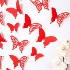 Wandtattoo 3D - Schmetterlinge rot Set mit Muster