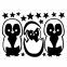 Wandtattoo A4-Set Pinguine mit Sternchen