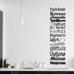 wandtattoo banner frische kr uter k che gew rze wandsticker wandaufkleber ebay. Black Bedroom Furniture Sets. Home Design Ideas
