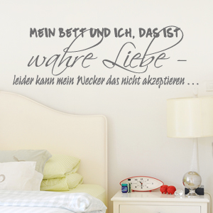 wandtattoo spruch mein bett und ich wandaufkleber wanddeko wandsticker ebay. Black Bedroom Furniture Sets. Home Design Ideas