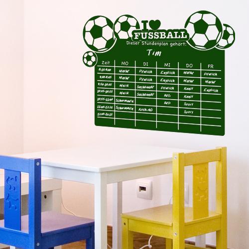 Jungen Fussball Zimmer : Details zu Tafelfolie Stundenplan Fußball, Wandsticker, Wandaufkleber