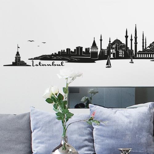 skyline istanbul t rkei als wandtattoo wandaufkleber. Black Bedroom Furniture Sets. Home Design Ideas
