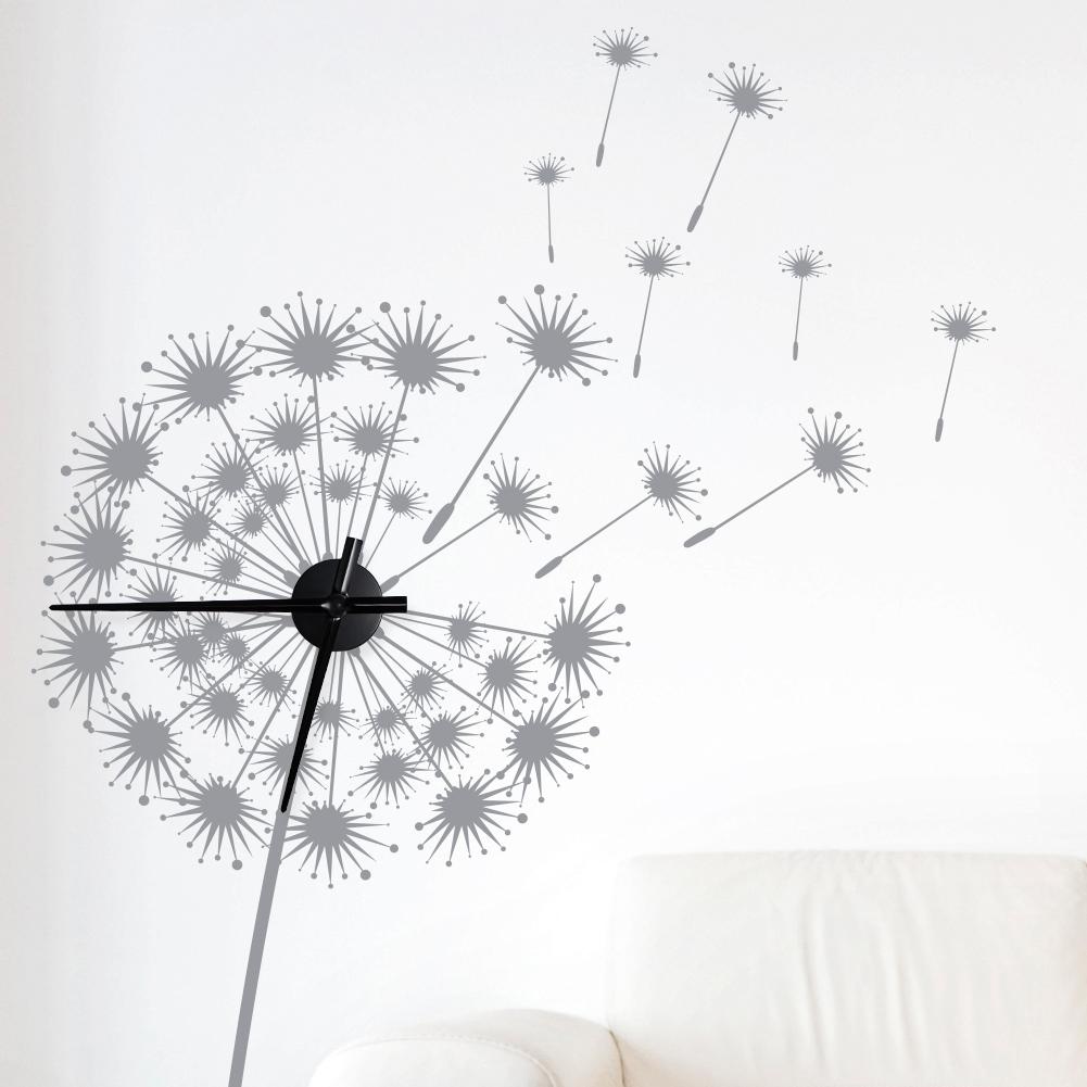wandtattoo uhr wanduhr pusteblume blume blumenuhr pflanze wohnzimmer dekouhr ebay. Black Bedroom Furniture Sets. Home Design Ideas