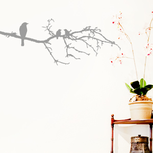 wandtattoo 3 v gel auf ast baum vogel wandsticker wandaufkleber wanddeko ebay. Black Bedroom Furniture Sets. Home Design Ideas