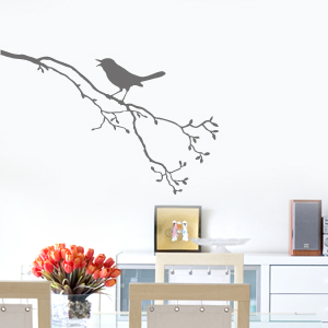 wandkings wandtattoo singvogel auf ast vogel gr e farbe w hlbar ebay. Black Bedroom Furniture Sets. Home Design Ideas