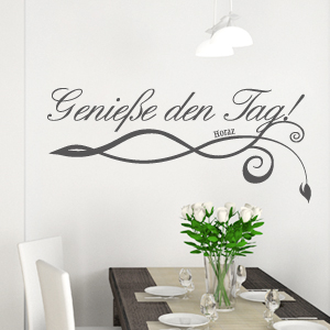 wandkings wandtattoo spruch genie e den tag ranke gr e farbe w hlbar ebay. Black Bedroom Furniture Sets. Home Design Ideas