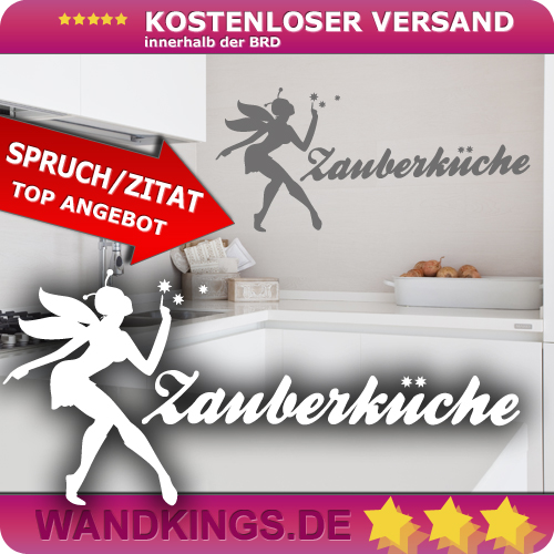 WANDKINGS-Wandtattoo-Spruch-Zauberkueche-Kueche-Fee-Groesse-Farbe-waehlbar